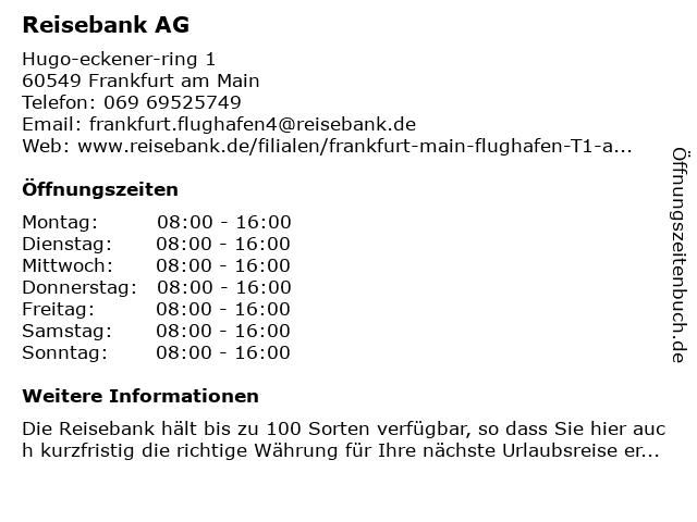 Reisebank in Frankfurt: Adresse und Öffnungszeiten
