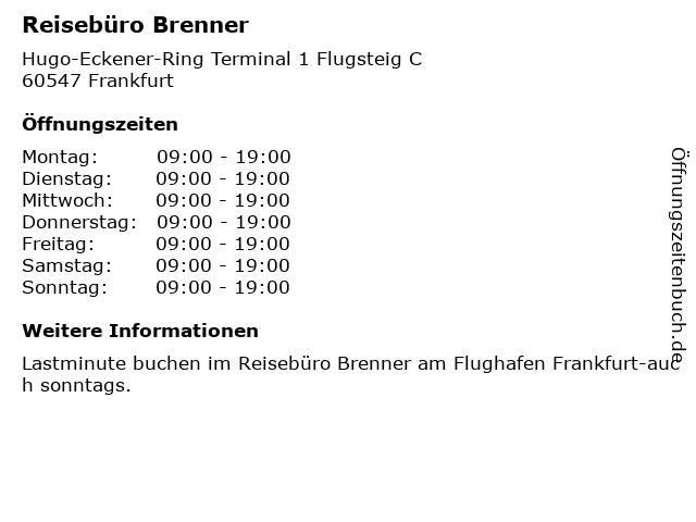 Reisebüro Brenner in Frankfurt: Adresse und Öffnungszeiten