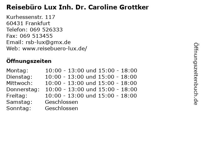 Reisebüro Lux Inh. Dr. Caroline Grottker in Frankfurt: Adresse und Öffnungszeiten