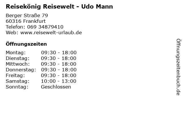 Reisekönig Reisewelt - Udo Mann in Frankfurt: Adresse und Öffnungszeiten