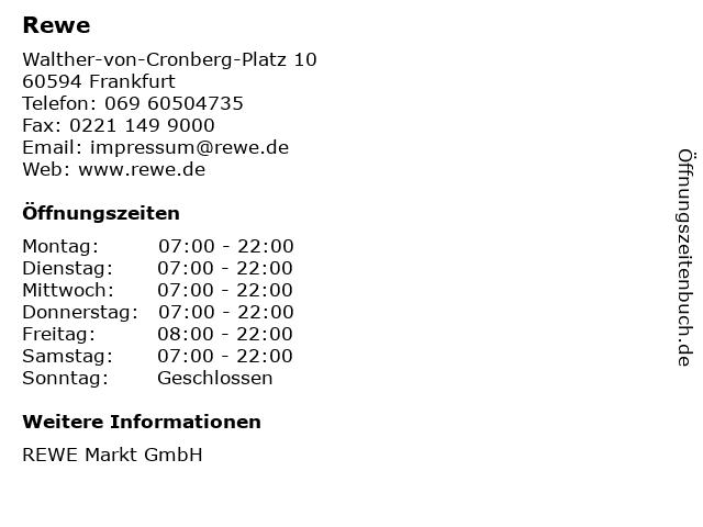 Rewe in Frankfurt: Adresse und Öffnungszeiten