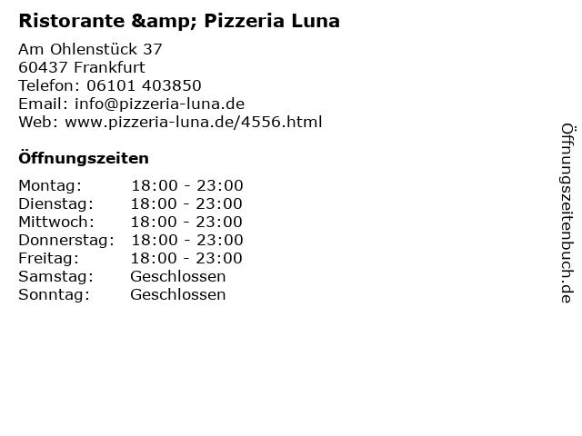 Ristorante & Pizzeria Luna in Frankfurt: Adresse und Öffnungszeiten