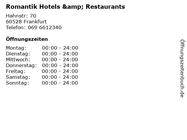 Romantik Hotels & Restaurants in Frankfurt: Adresse und Öffnungszeiten