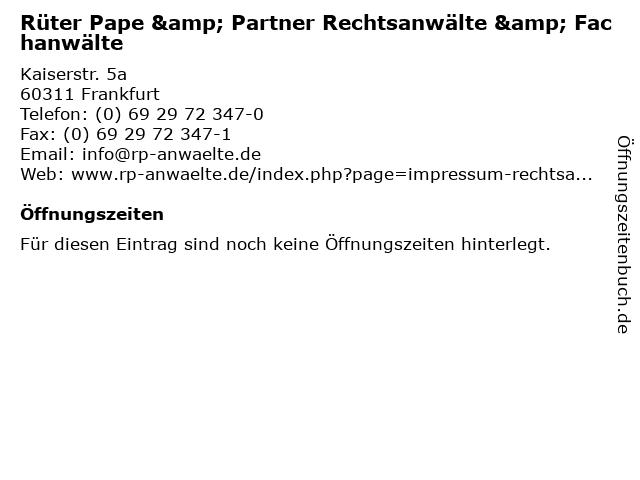 Rüter Pape & Partner Rechtsanwälte & Fachanwälte in Frankfurt: Adresse und Öffnungszeiten
