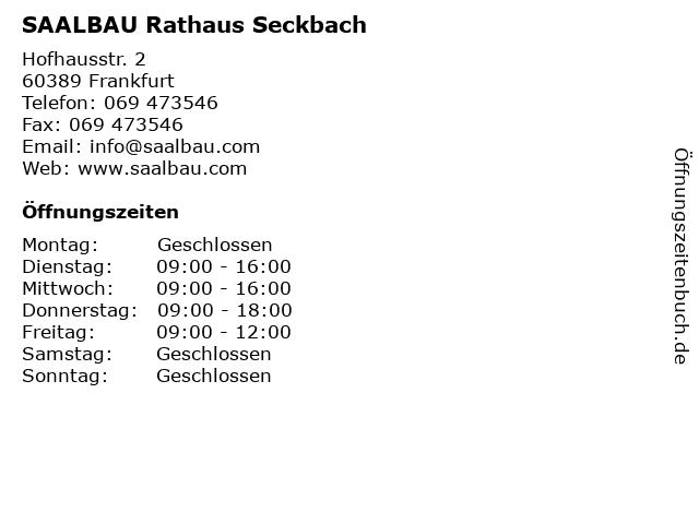 SAALBAU Rathaus Seckbach in Frankfurt: Adresse und Öffnungszeiten