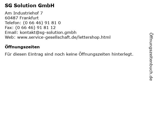 SG Solution GmbH in Frankfurt: Adresse und Öffnungszeiten