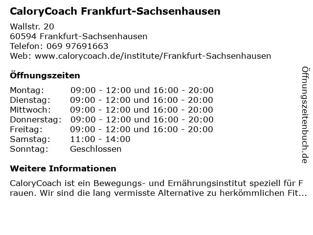 CaloryCoach Frankfurt-Sachsenhausen in Frankfurt-Sachsenhausen: Adresse und Öffnungszeiten