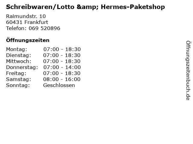 Schreibwaren/Lotto & Hermes-Paketshop in Frankfurt: Adresse und Öffnungszeiten