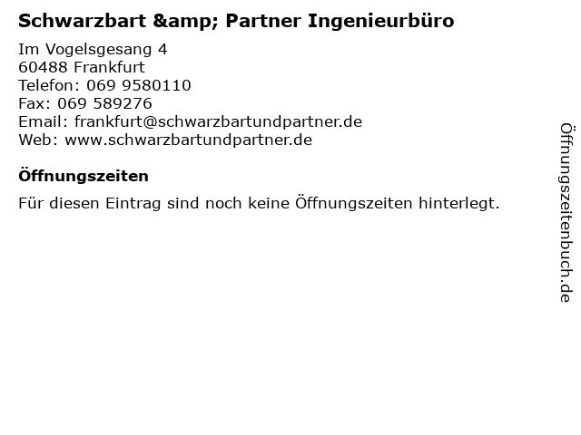 Schwarzbart & Partner Ingenieurbüro in Frankfurt: Adresse und Öffnungszeiten