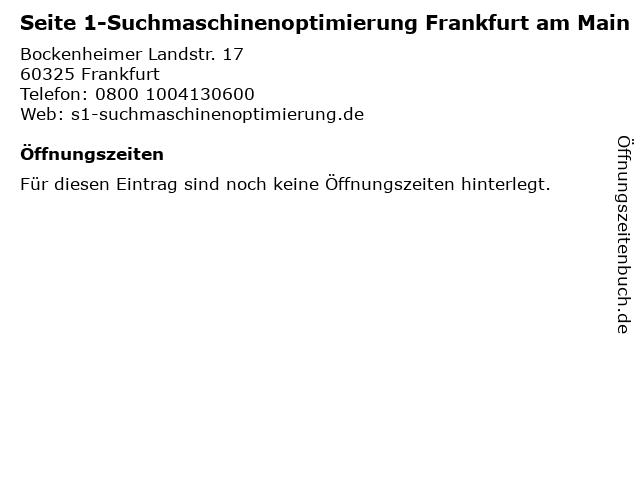 Seite 1-Suchmaschinenoptimierung Frankfurt am Main in Frankfurt: Adresse und Öffnungszeiten