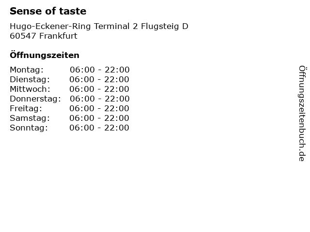 Sense of taste in Frankfurt: Adresse und Öffnungszeiten