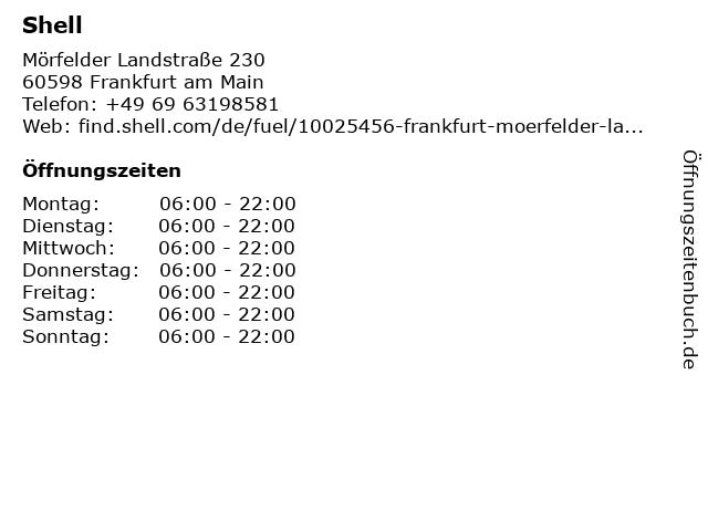 Shell Station in Frankfurt: Adresse und Öffnungszeiten