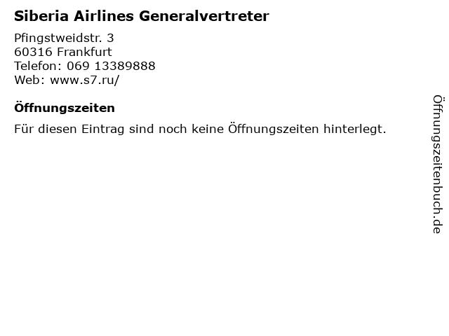 Siberia Airlines Generalvertreter in Frankfurt: Adresse und Öffnungszeiten