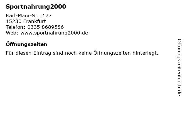 Sportnahrung2000 in Frankfurt: Adresse und Öffnungszeiten