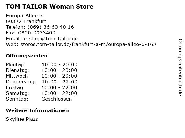 TOM TAILOR Denim in Frankfurt: Adresse und Öffnungszeiten