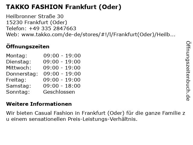 Takko Fashion in Frankfurt: Adresse und Öffnungszeiten