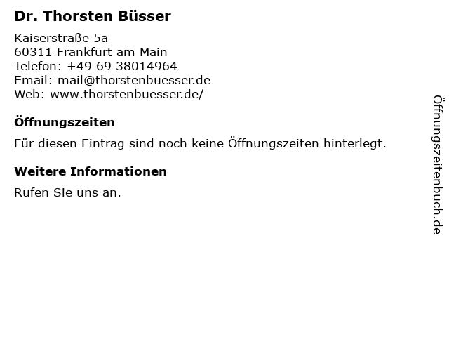 Thorsten Büsser in Frankfurt: Adresse und Öffnungszeiten