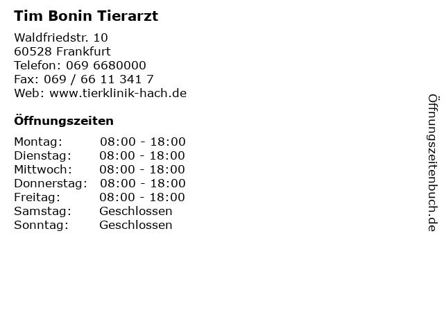 Tim Bonin Tierarzt in Frankfurt: Adresse und Öffnungszeiten