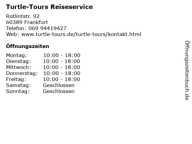 Turtle-Tours Reiseservice in Frankfurt: Adresse und Öffnungszeiten