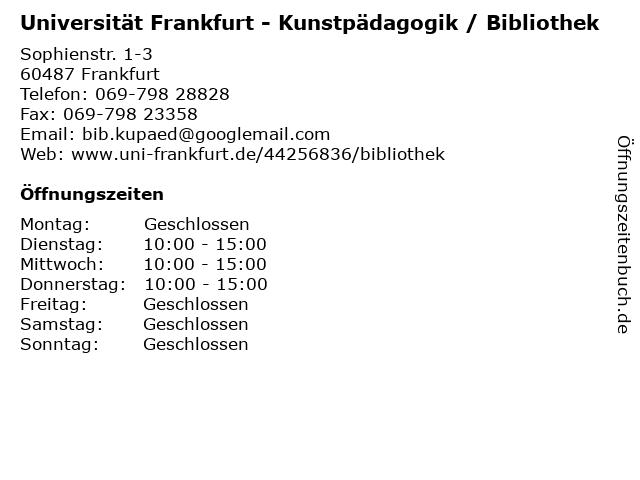 Universität Frankfurt - Kunstpädagogik / Bibliothek in Frankfurt: Adresse und Öffnungszeiten