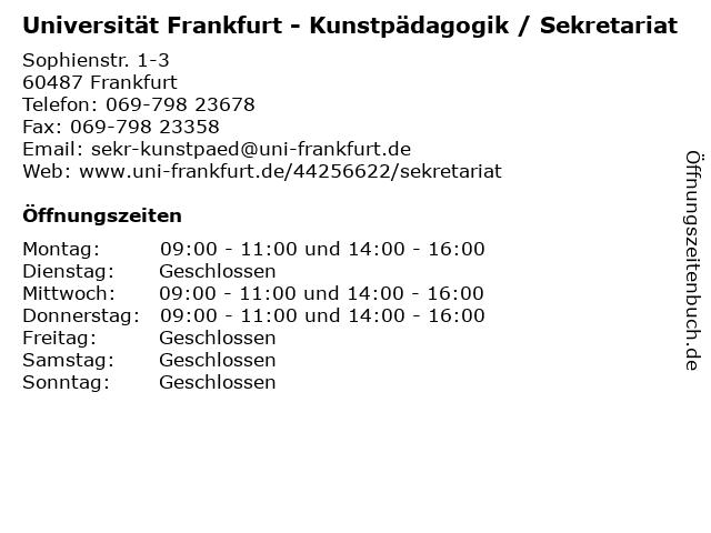 Universität Frankfurt - Kunstpädagogik / Sekretariat in Frankfurt: Adresse und Öffnungszeiten