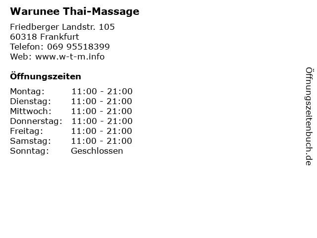 Warunee Thai-Massage in Frankfurt: Adresse und Öffnungszeiten