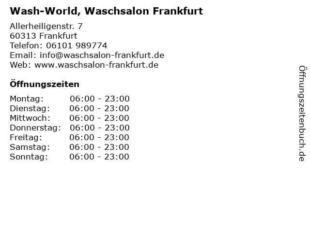 Wash-World, Waschsalon Frankfurt in Frankfurt: Adresse und Öffnungszeiten