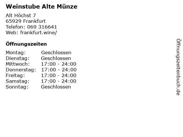ᐅ öffnungszeiten Alte Münze Inh Michael Röckel Weinstube Alt