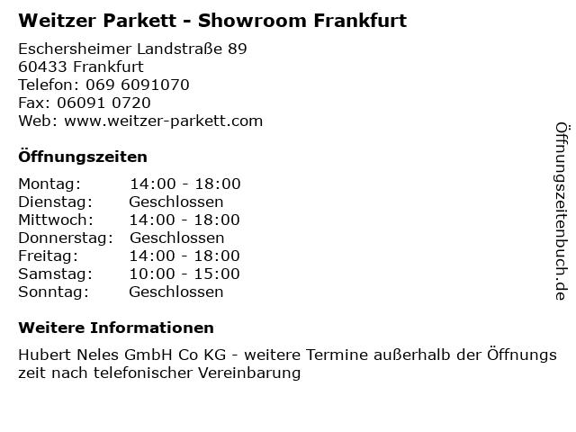 Weitzer Parkett - Showroom Frankfurt in Frankfurt: Adresse und Öffnungszeiten