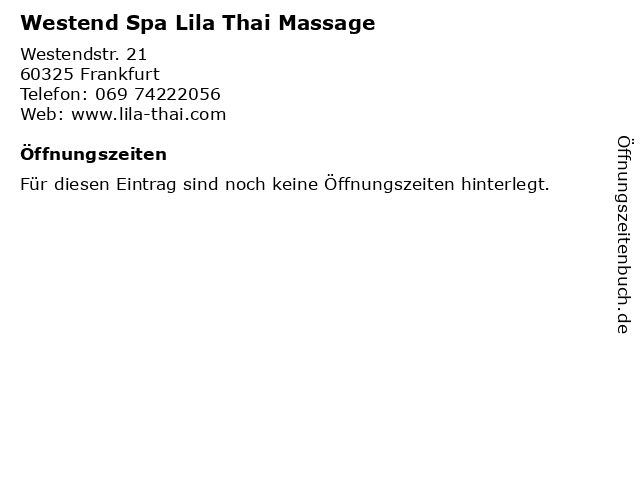 Westend Spa Lila Thai Massage in Frankfurt: Adresse und Öffnungszeiten