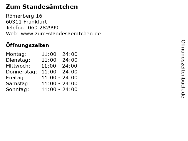 Zum Standesämtchen in Frankfurt: Adresse und Öffnungszeiten