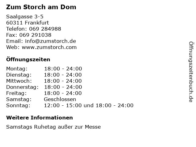 Zum Storch am Dom in Frankfurt: Adresse und Öffnungszeiten