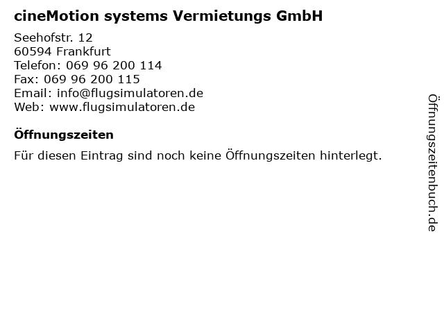 cineMotion systems Vermietungs GmbH in Frankfurt: Adresse und Öffnungszeiten