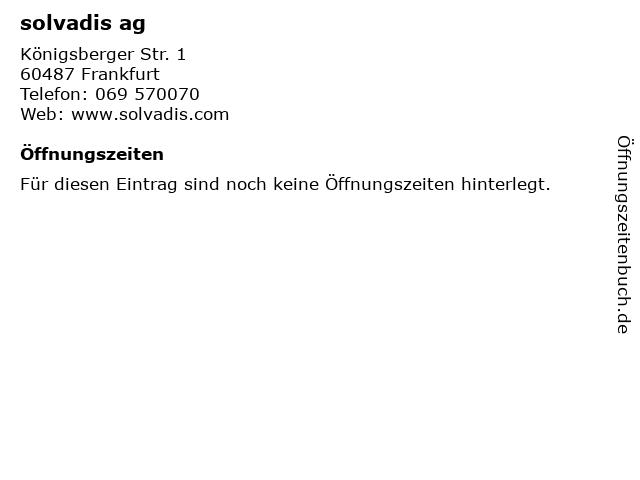 solvadis ag in Frankfurt: Adresse und Öffnungszeiten