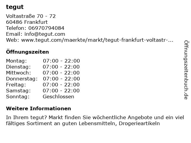 tegut in Frankfurt: Adresse und Öffnungszeiten