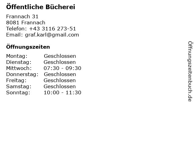 Öffentliche Bücherei in Frannach: Adresse und Öffnungszeiten