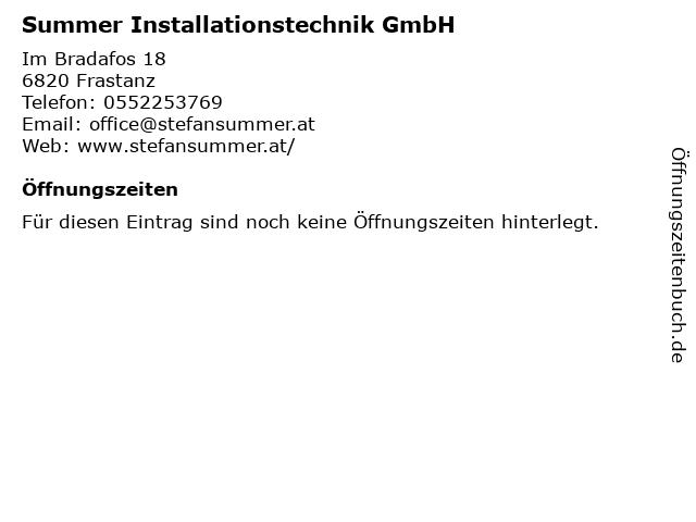 Summer Installationstechnik GmbH in Frastanz: Adresse und Öffnungszeiten