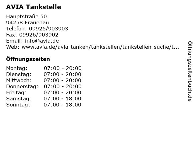 AVIA Tankstelle in Frauenau: Adresse und Öffnungszeiten