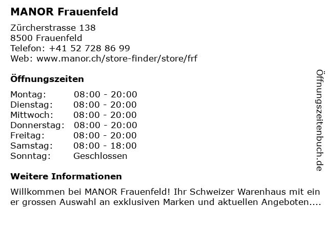 MANOR Frauenfeld in Frauenfeld: Adresse und Öffnungszeiten