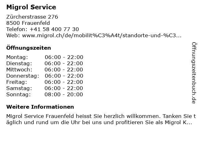 Migrol Service in Frauenfeld: Adresse und Öffnungszeiten