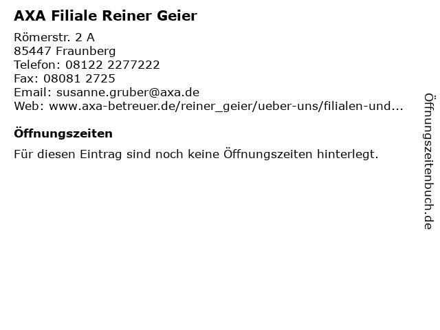 AXA Filiale Reiner Geier in Fraunberg: Adresse und Öffnungszeiten