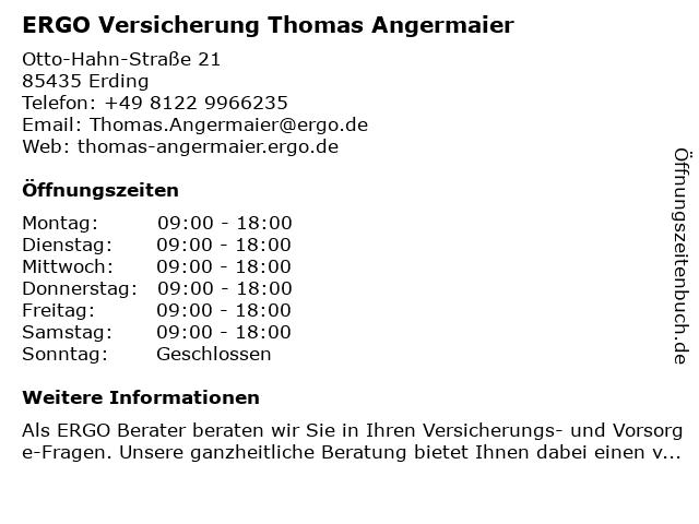 ERGO Versicherung Thomas Angermaier in Fraunberg: Adresse und Öffnungszeiten