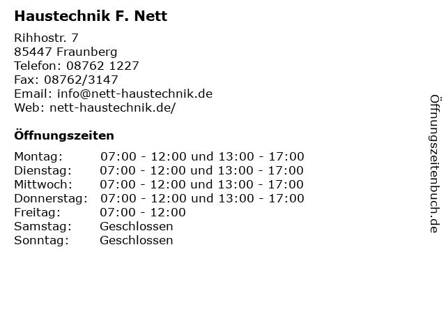 Haustechnik F. Nett in Fraunberg: Adresse und Öffnungszeiten