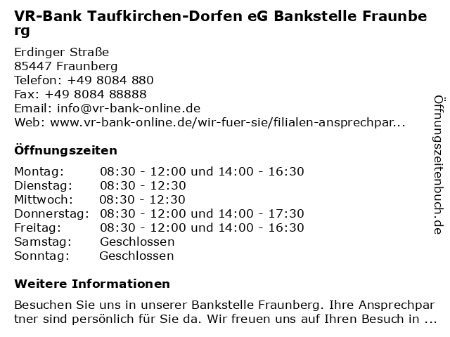 VR-Bank Taufkirchen-Dorfen eG Bankstelle Fraunberg in Fraunberg: Adresse und Öffnungszeiten
