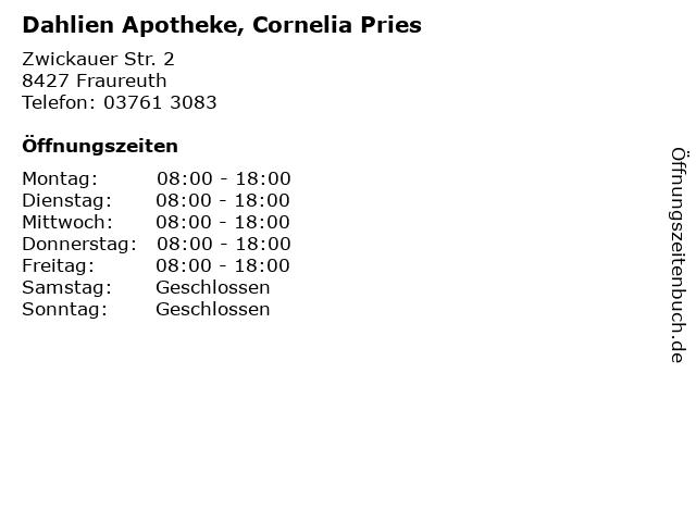 Dahlien Apotheke, Cornelia Pries in Fraureuth: Adresse und Öffnungszeiten