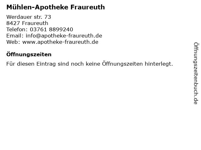 Mühlen-Apotheke Fraureuth in Fraureuth: Adresse und Öffnungszeiten