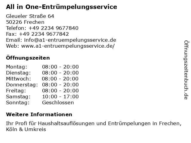 All in One-Entrümpelungsservice in Frechen: Adresse und Öffnungszeiten