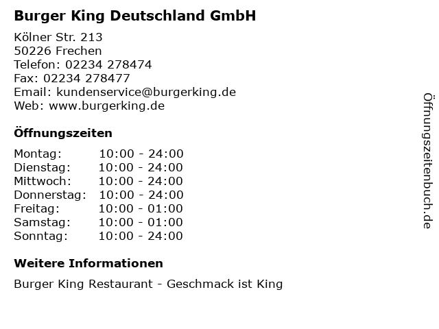 Burger King Deutschland GmbH in Frechen: Adresse und Öffnungszeiten