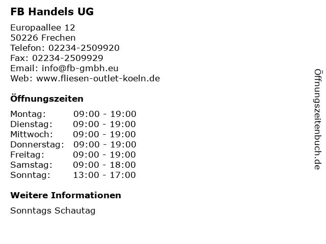 FB Handels UG in Frechen: Adresse und Öffnungszeiten