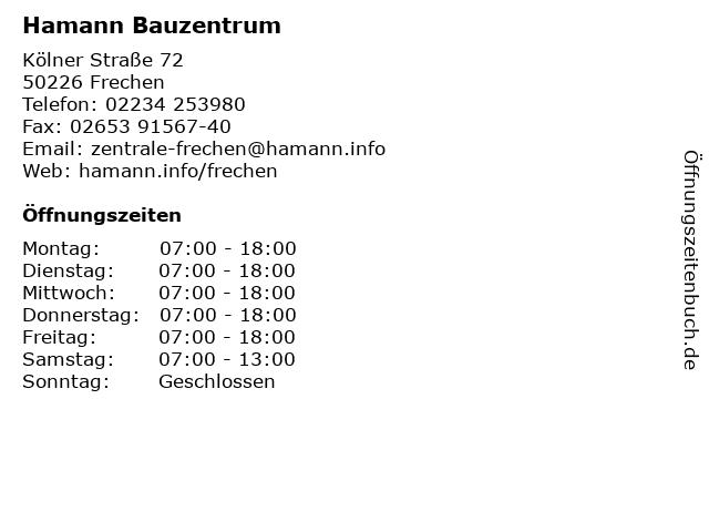 Hamann Bauzentrum in Frechen: Adresse und Öffnungszeiten
